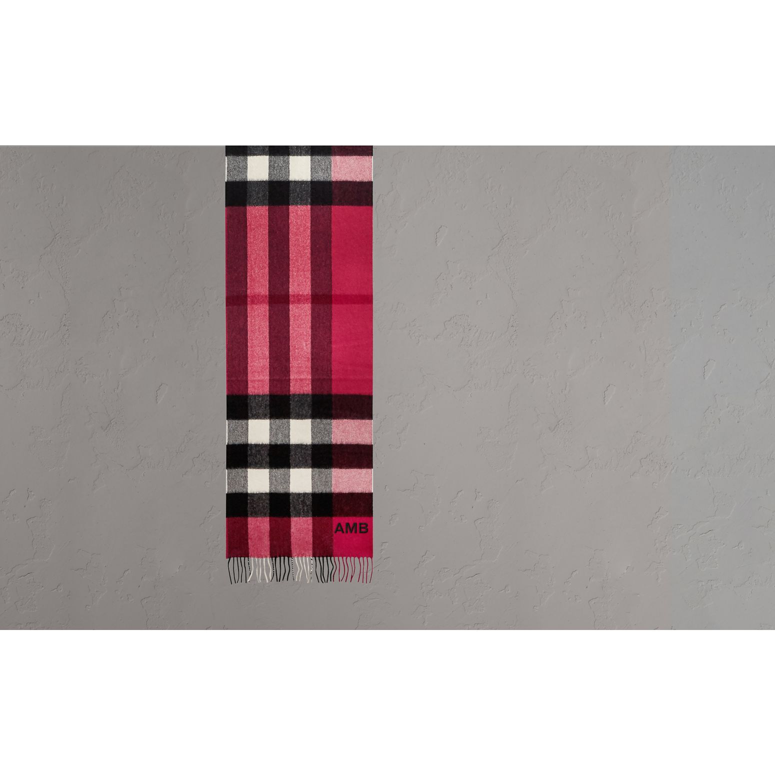 The Large Classic Cashmere Scarf in Check Fuchsia Pink - gallery image 2
