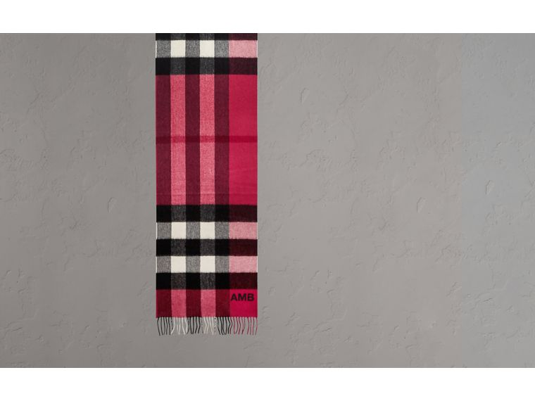 The Large Classic Cashmere Scarf in Check Fuchsia Pink - cell image 1