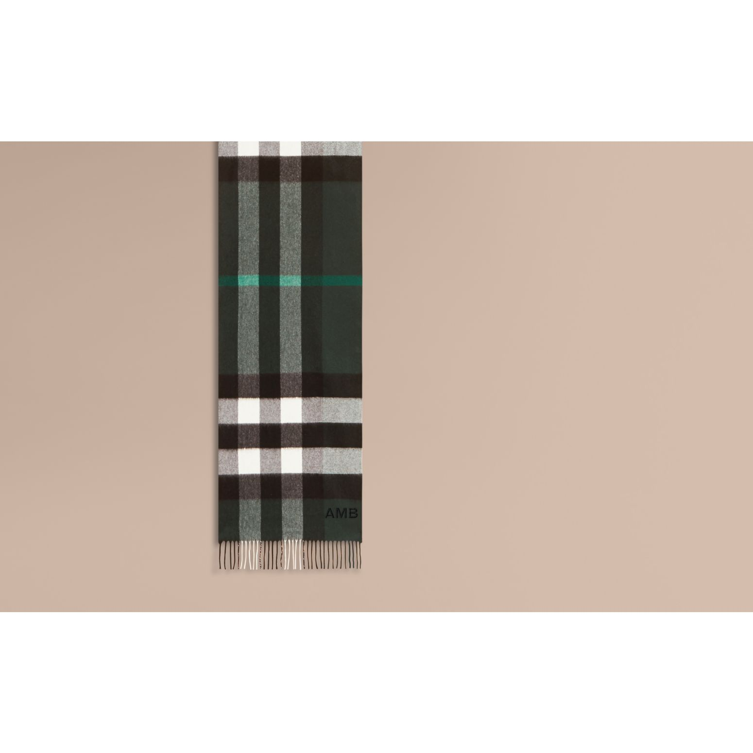 The Large Classic Cashmere Scarf in Check Dark Forest Green - gallery image 2