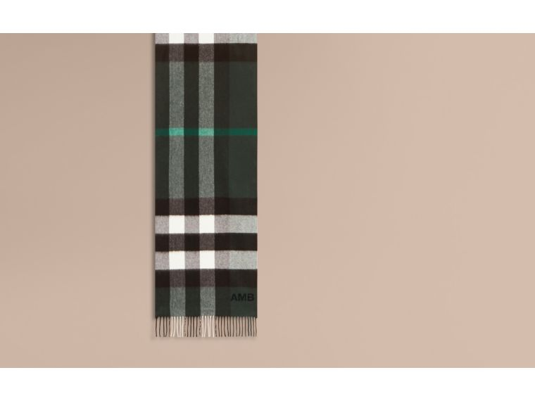 Dark forest green The Large Classic Cashmere Scarf in Check Dark Forest Green - cell image 1