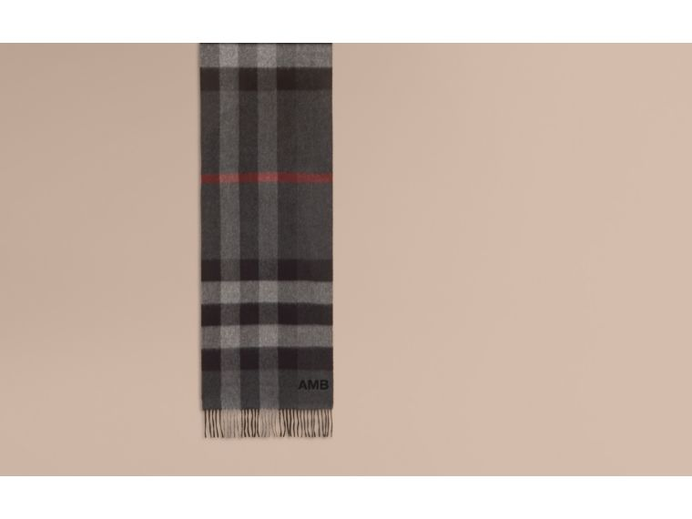 The Large Classic Cashmere Scarf in Check in Charcoal | Burberry Australia - cell image 1