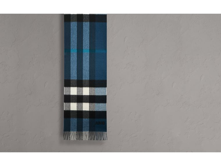 Marine blue The Large Classic Cashmere Scarf in Check Marine Blue - cell image 1
