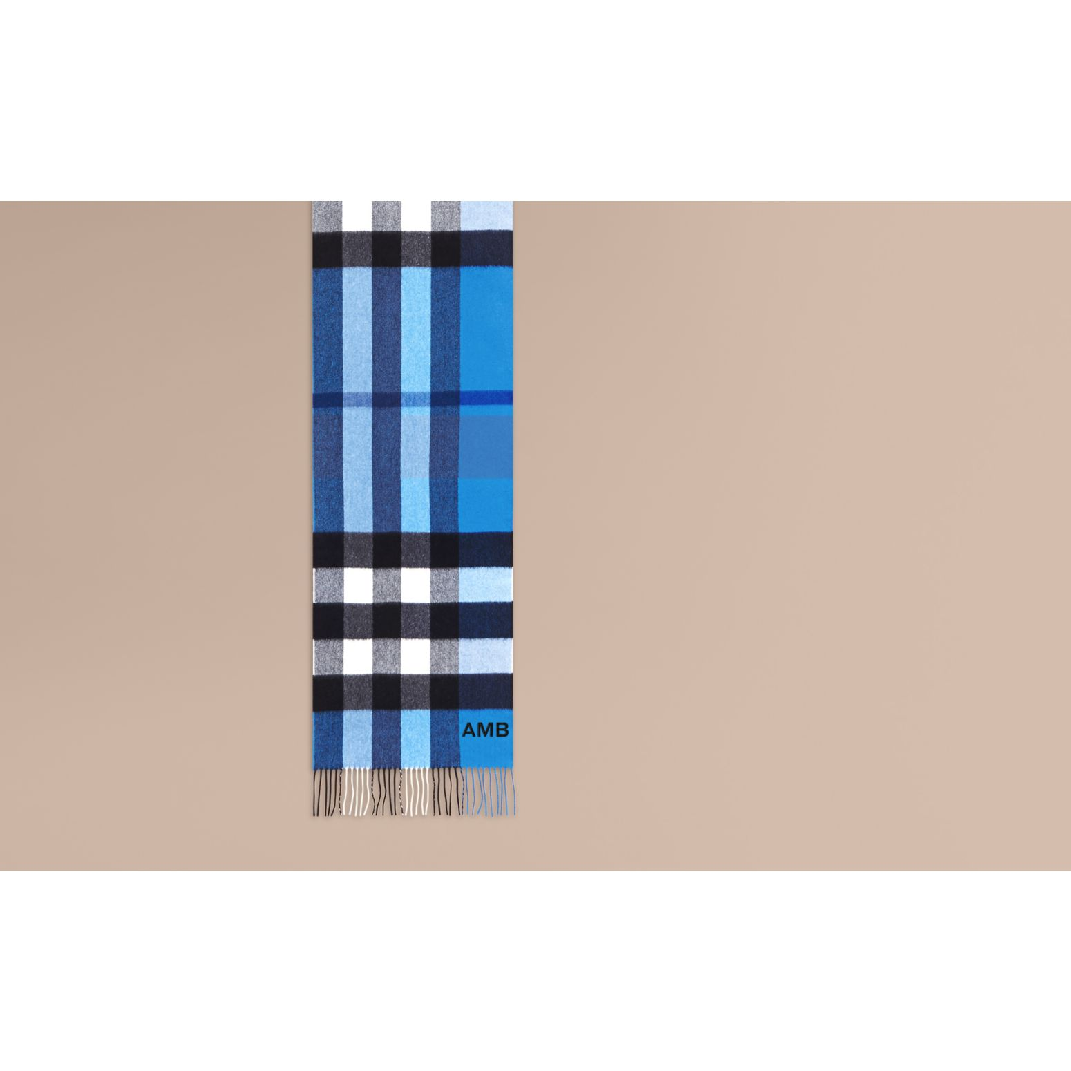 The Large Classic Cashmere Scarf in Check Bright Cornflower Blue - gallery image 2