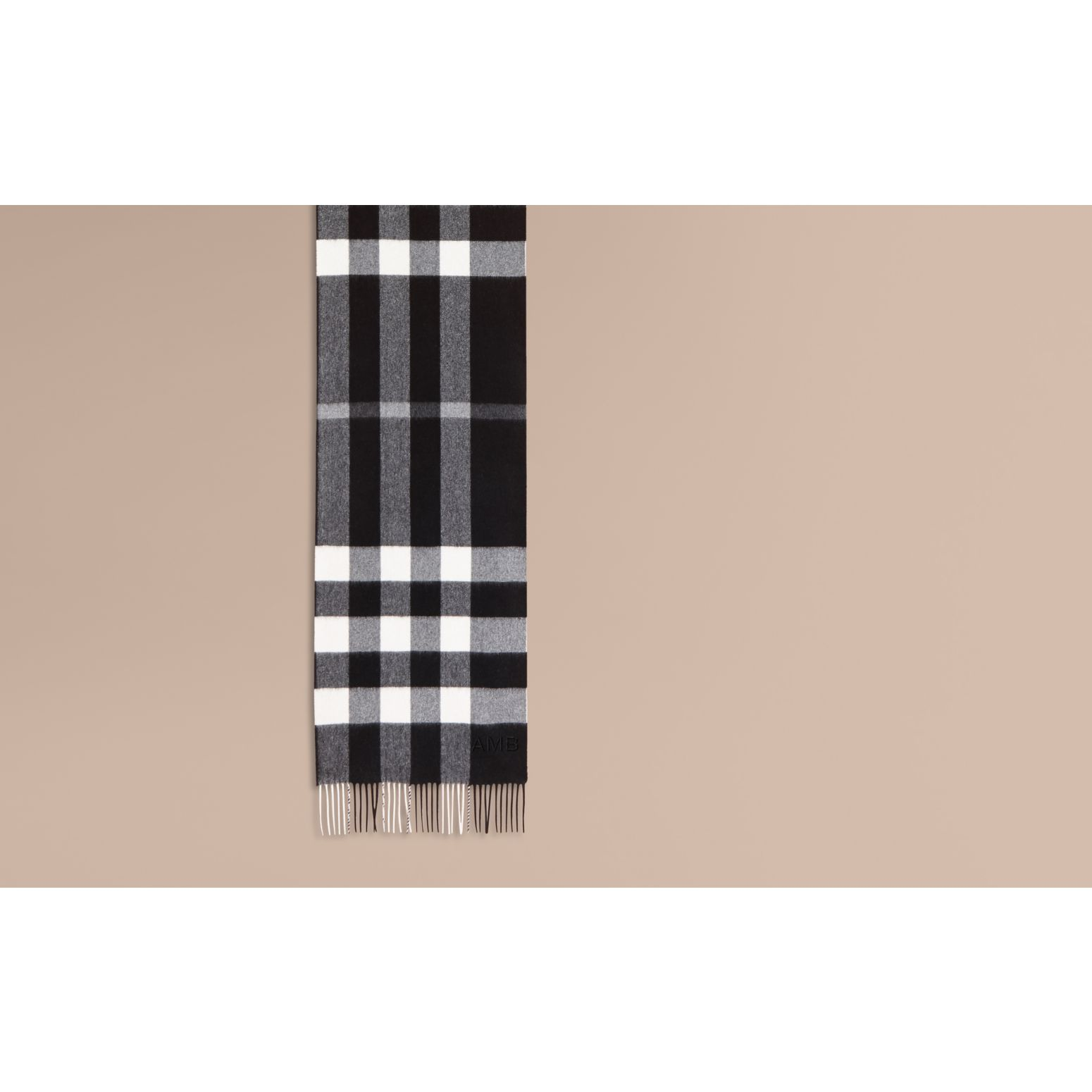 The Large Classic Cashmere Scarf in Check in Black - gallery image 2