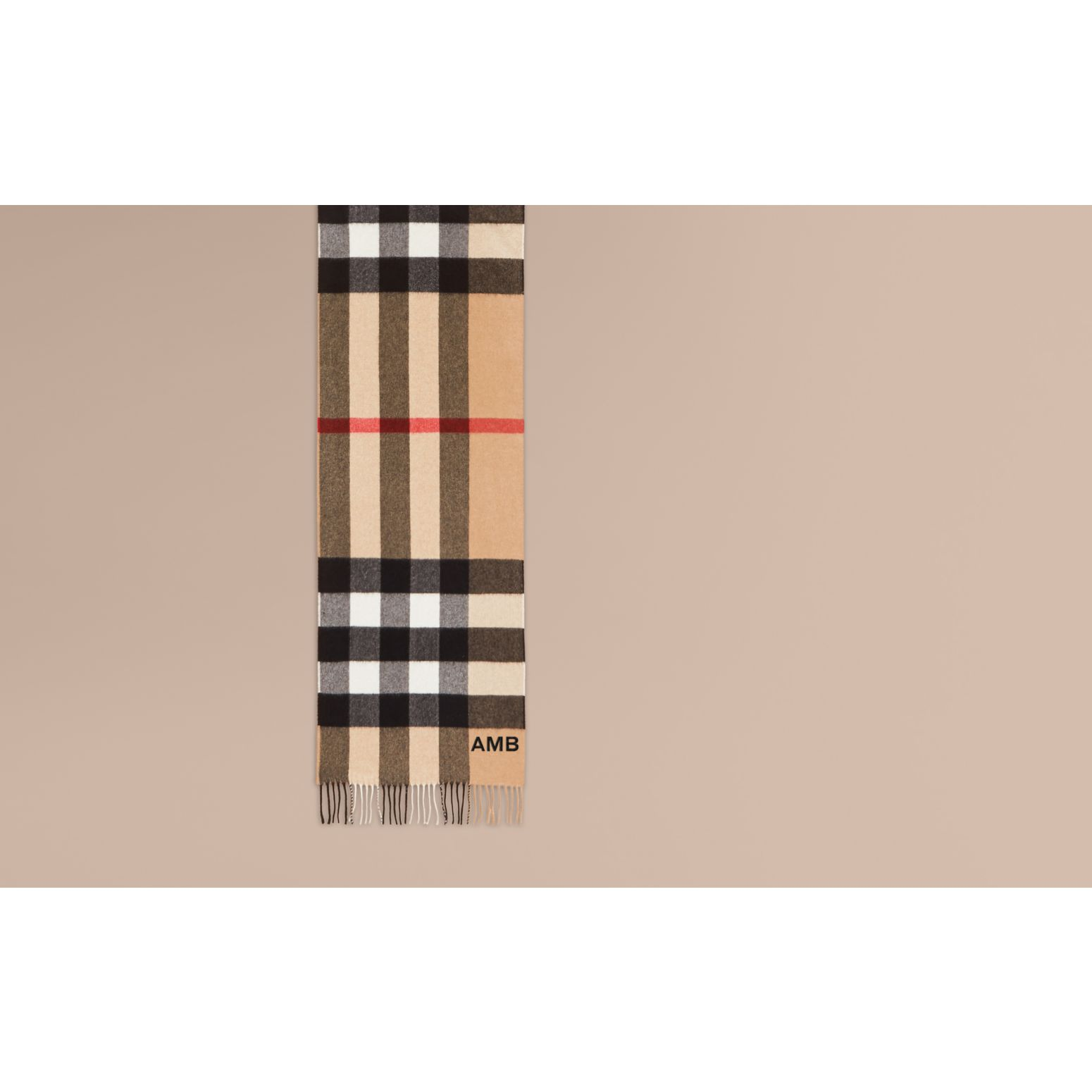 The Large Classic Cashmere Scarf in Check in Camel - gallery image 2