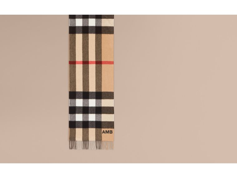 The Large Classic Cashmere Scarf in Check in Camel | Burberry Australia - cell image 1