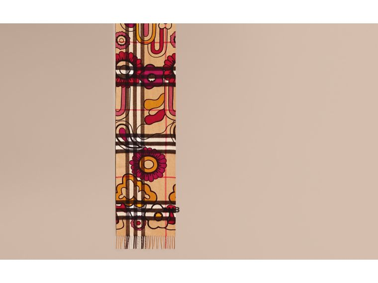 Floral Pop Print and Check Cashmere Scarf Camel/orange Red - cell image 1