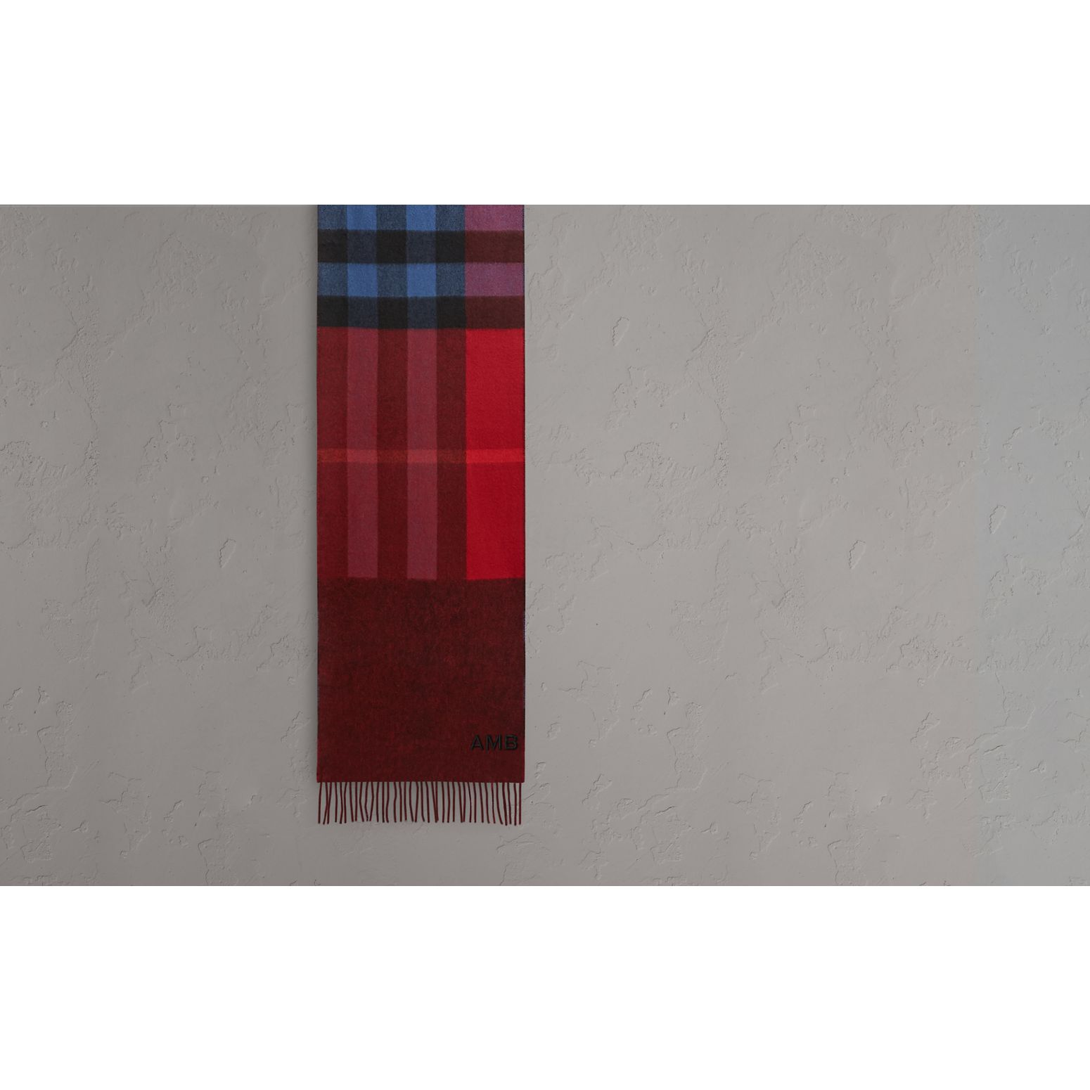 Reversible Check and Melange Cashmere Scarf in Parade Red | Burberry United States - gallery image 1