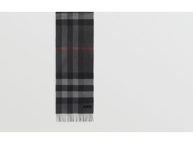 Check Cashmere Scarf in Charcoal | Burberry - cell image 1