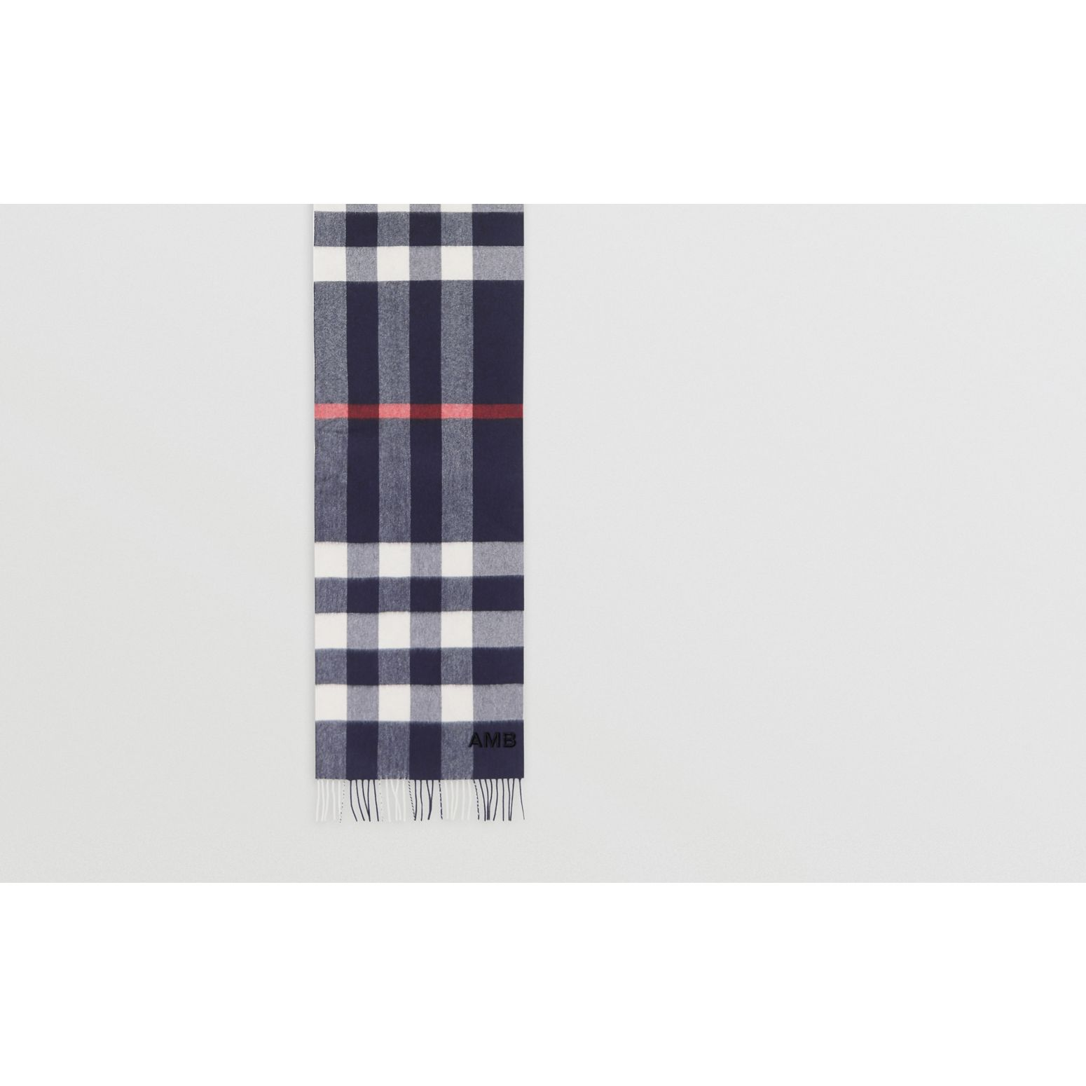 Check Cashmere Scarf in Navy | Burberry United Kingdom - gallery image 1