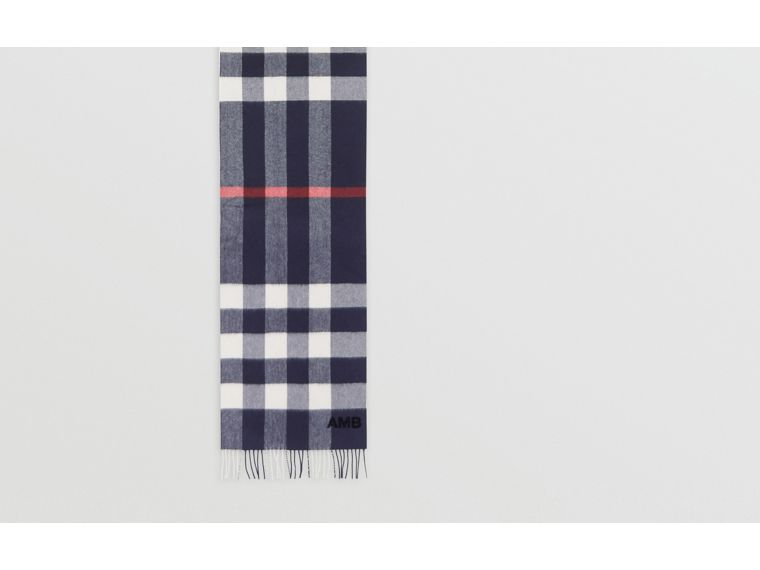 Check Cashmere Scarf in Navy | Burberry - cell image 1