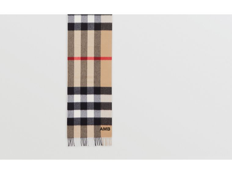 Check Cashmere Scarf in Archive Beige | Burberry - cell image 1