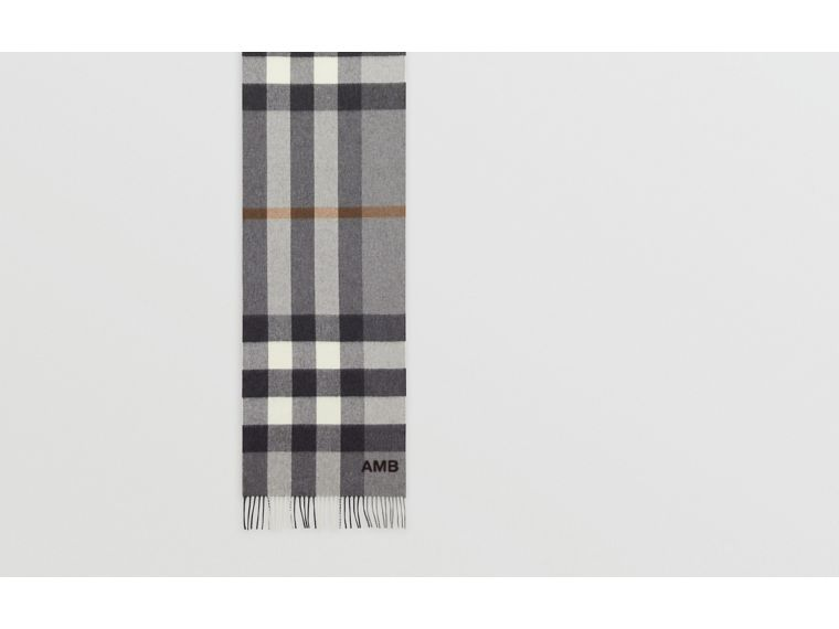Check Cashmere Scarf in Grey | Burberry - cell image 1