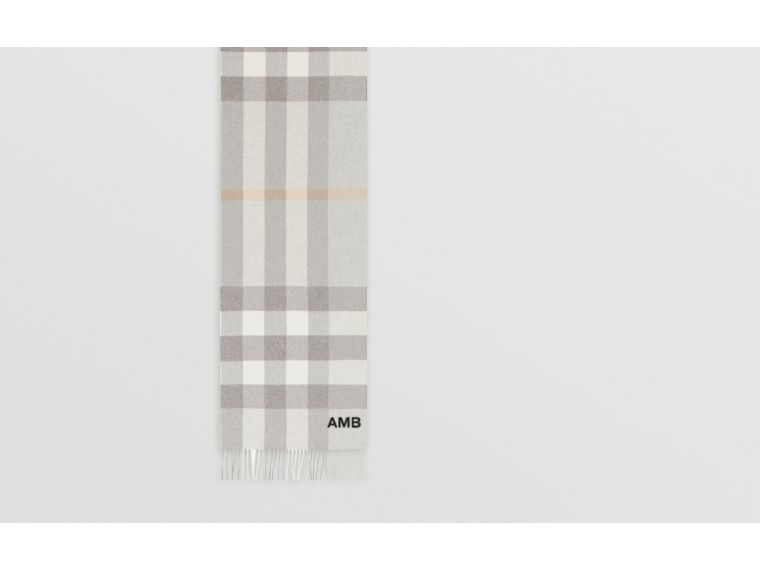 Check Cashmere Scarf in Light Grey | Burberry Australia - cell image 1