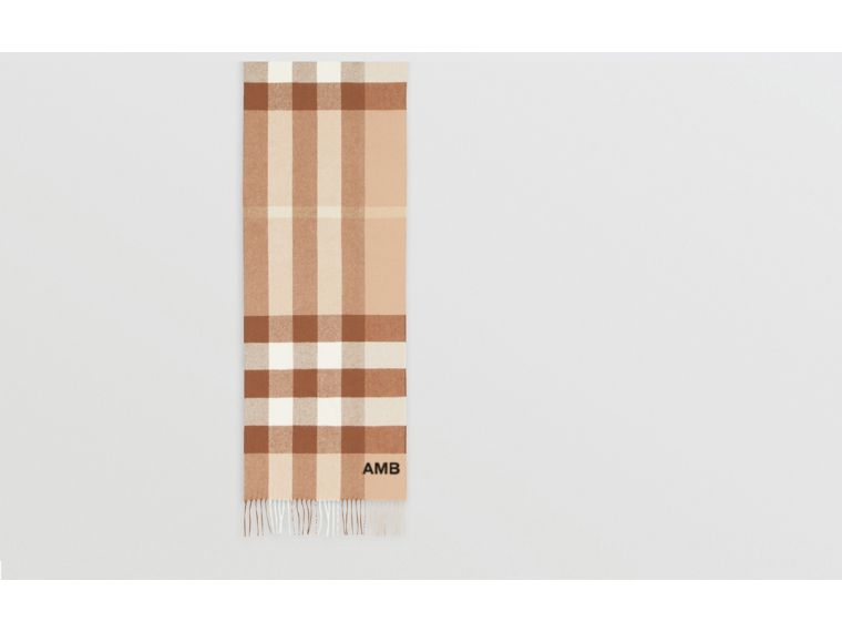 Check Cashmere Scarf in Mid Camel | Burberry - cell image 1