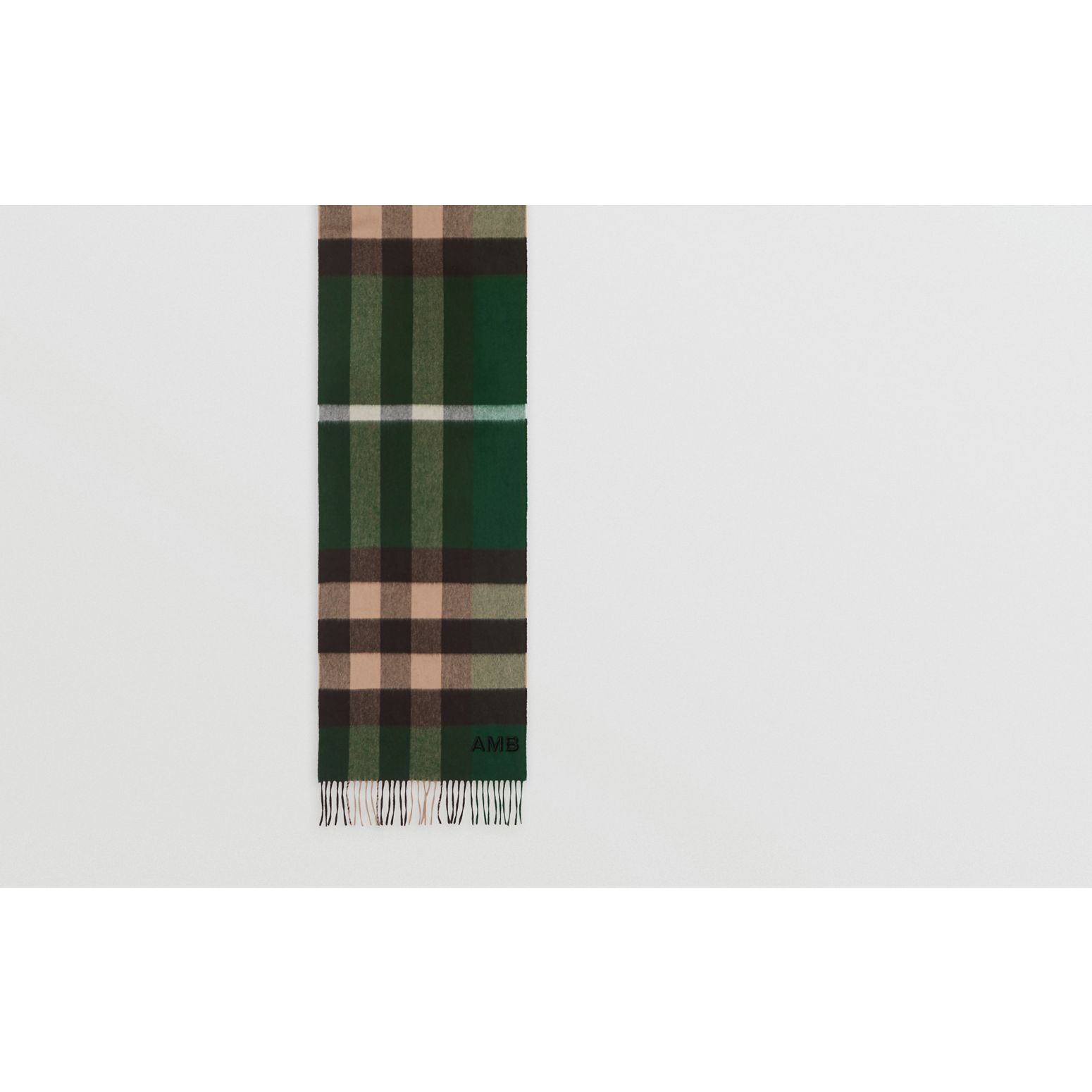 Check Cashmere Scarf in Dark Pine Green | Burberry - gallery image 1