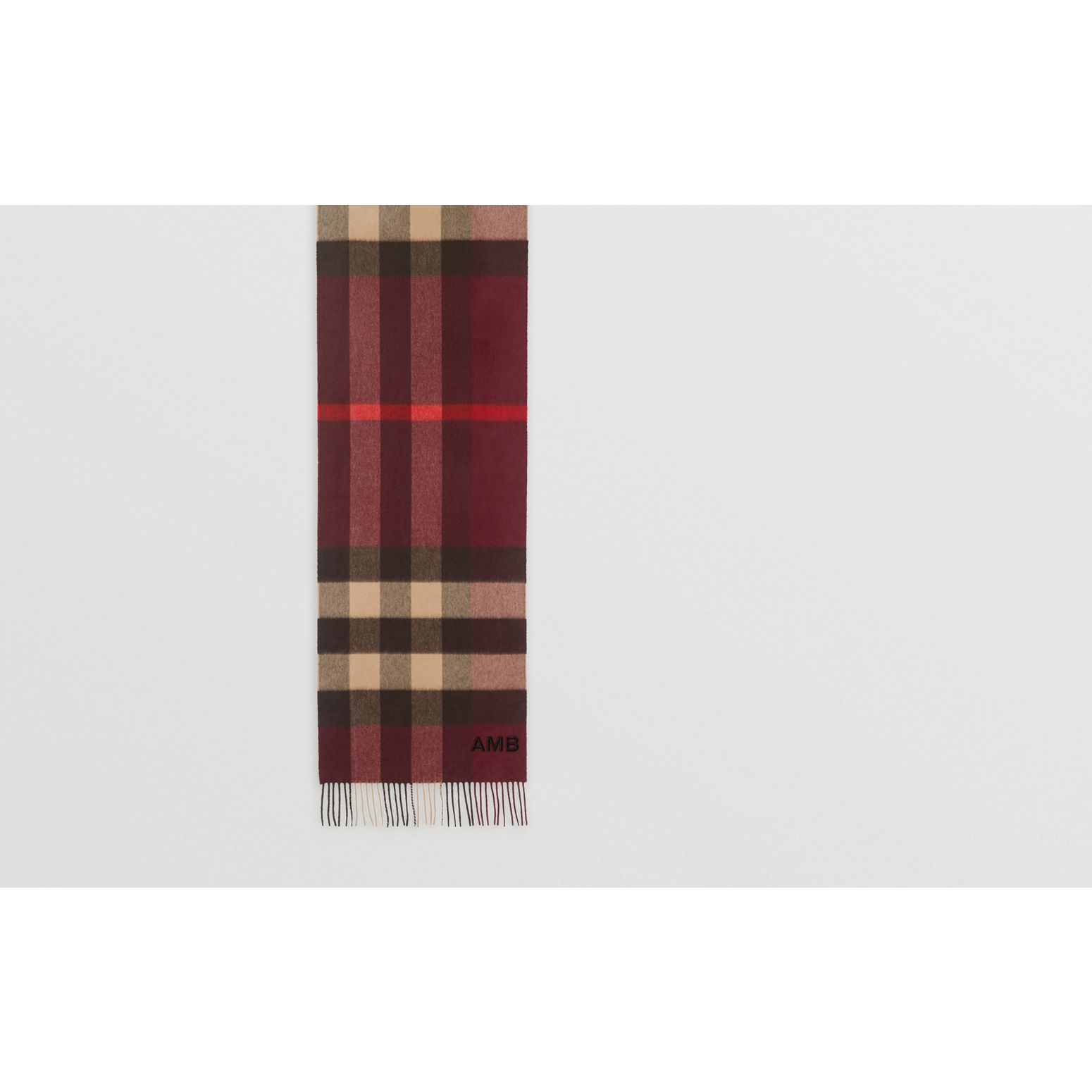 Check Cashmere Scarf in Burgundy | Burberry United Kingdom - gallery image 1