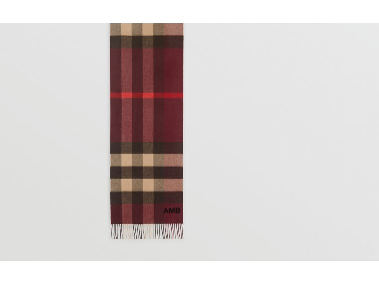 Check Cashmere Scarf in Burgundy | Burberry - cell image 1
