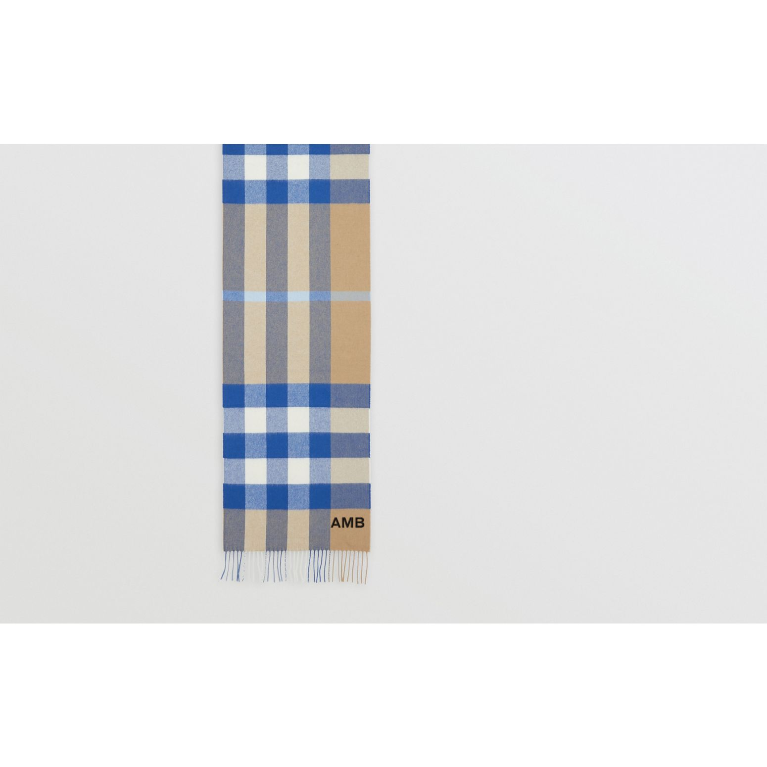 Check Cashmere Scarf in Arc Beige/inky Blue | Burberry Canada - gallery image 1