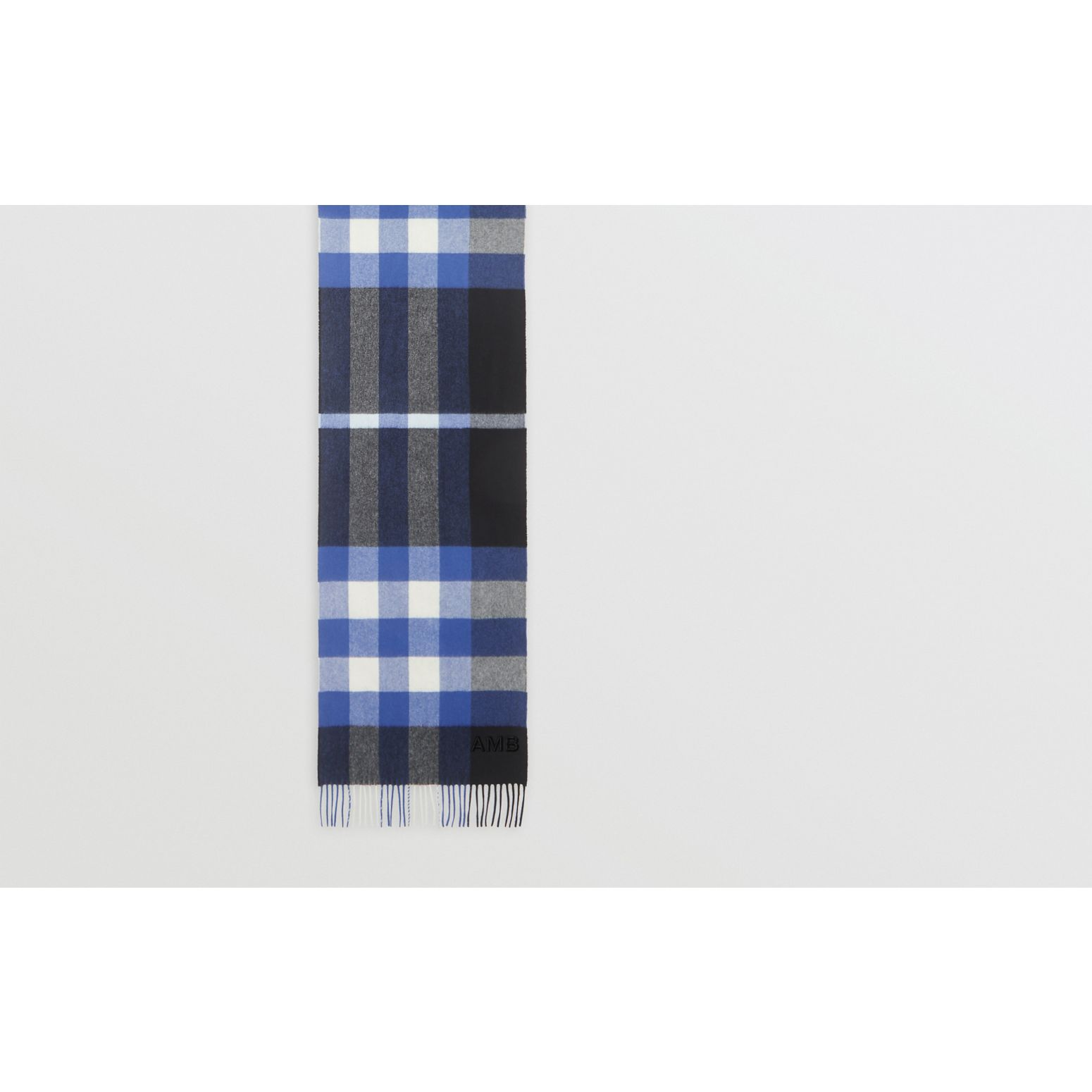 Check Cashmere Scarf in Black/bluebell | Burberry Canada - gallery image 1
