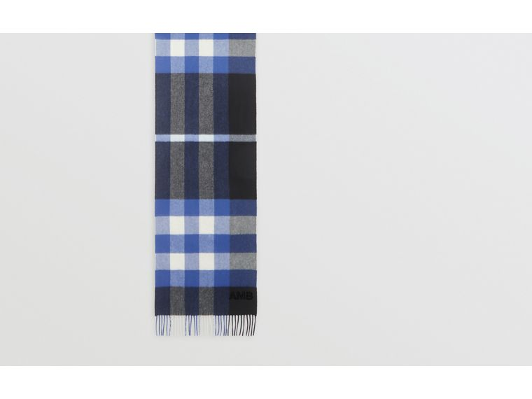 Check Cashmere Scarf in Black/bluebell | Burberry Canada - cell image 1