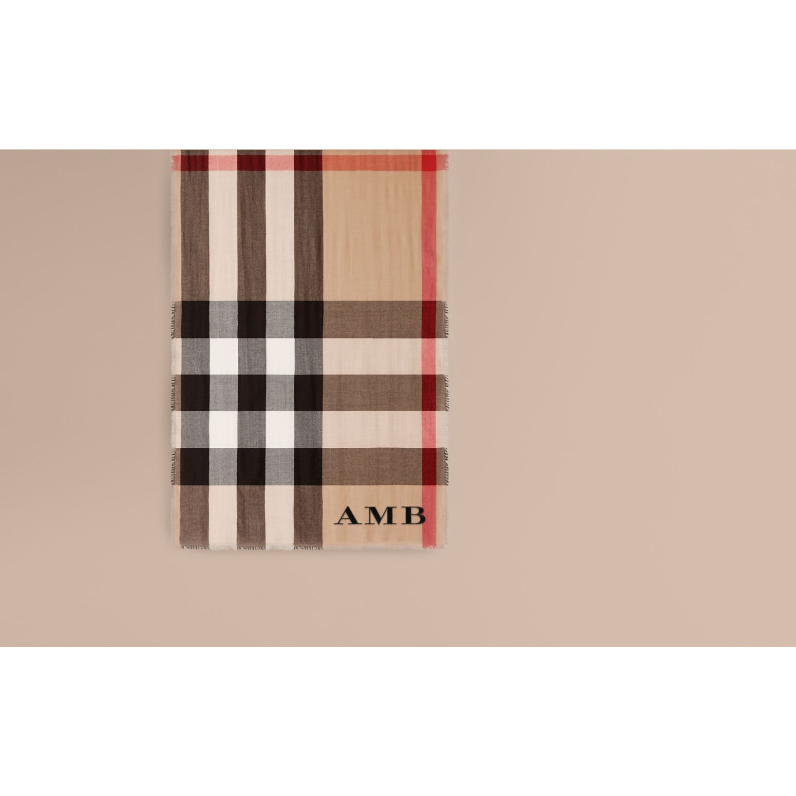 The Lightweight Cashmere Scarf in Check in Camel - gallery image 2