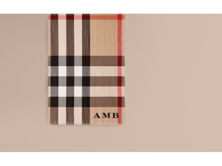 The Lightweight Cashmere Scarf in Check in Camel - cell image 1