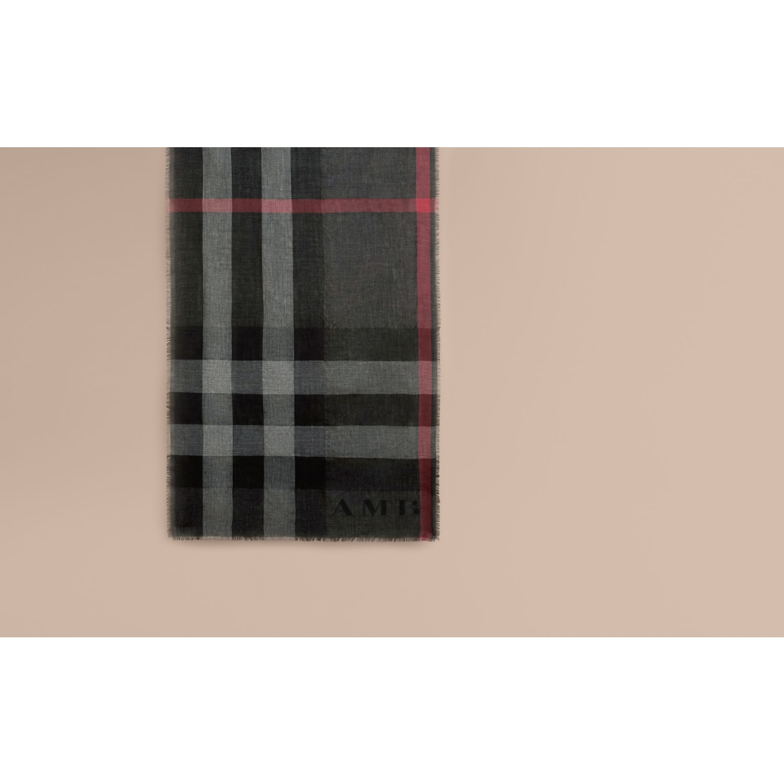 The Lightweight Cashmere Scarf in Check in Charcoal - gallery image 2