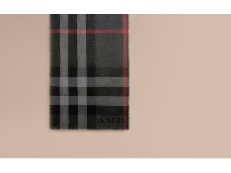 The Lightweight Cashmere Scarf in Check in Charcoal - cell image 1