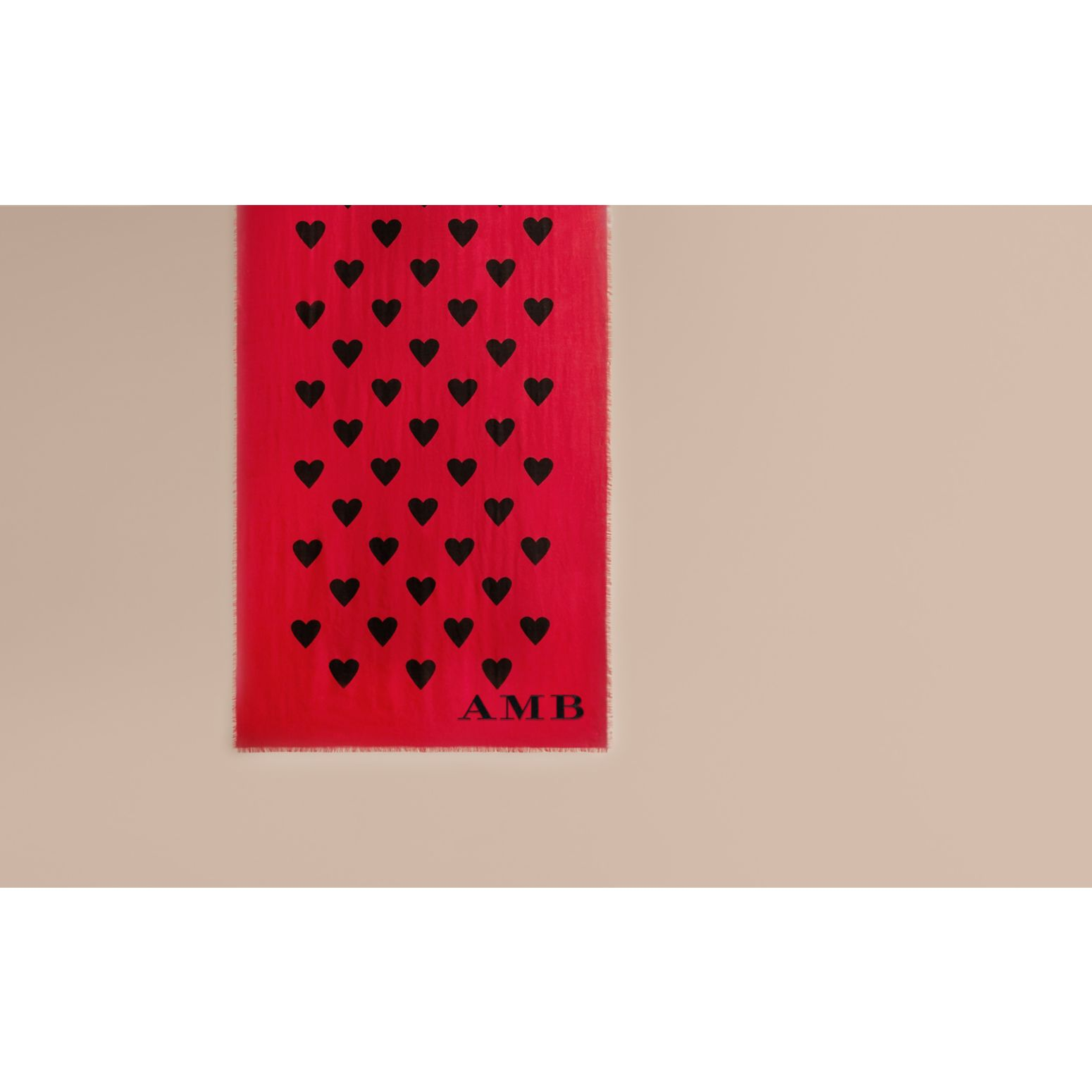 Parade red/black The Lightweight Cashmere Scarf in Heart Print Parade Red/black - gallery image 2