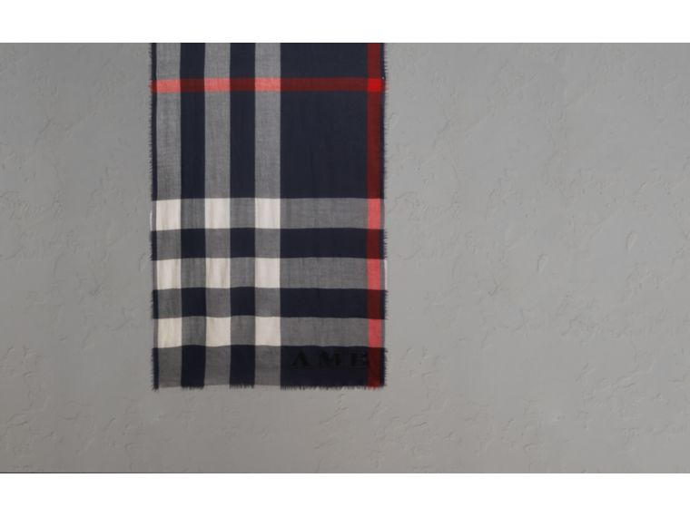 The Lightweight Cashmere Scarf in Check in Navy - cell image 1