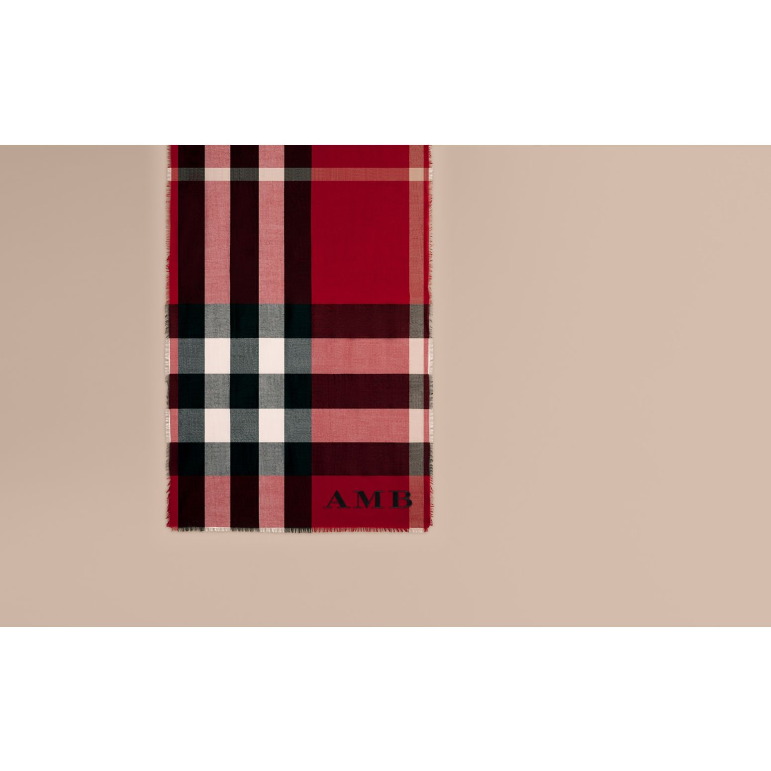 The Lightweight Cashmere Scarf in Check Parade Red - gallery image 2