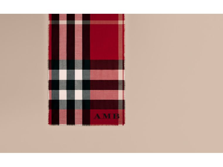 The Lightweight Cashmere Scarf in Check in Parade Red - cell image 1