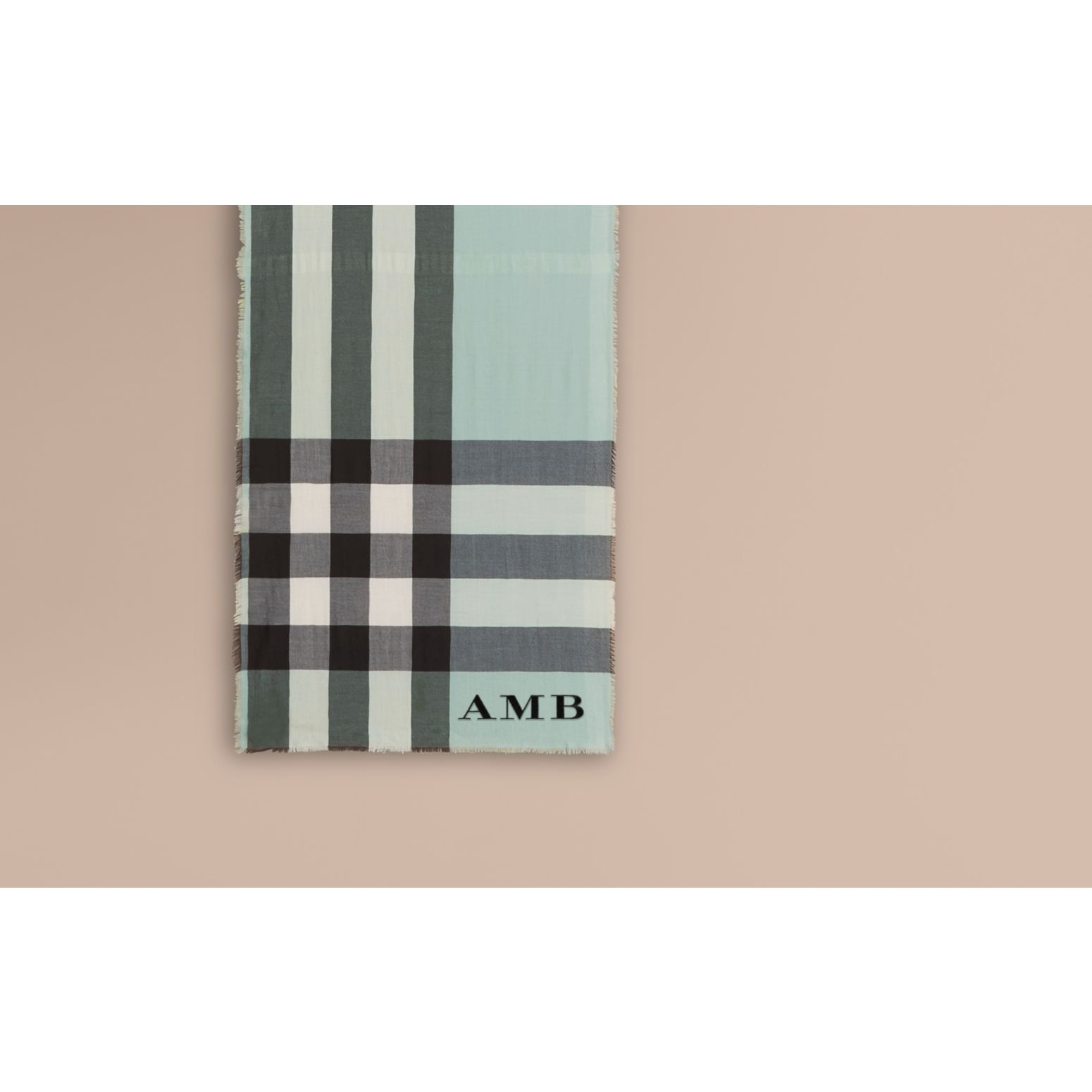 The Lightweight Cashmere Scarf in Check Dusty Mint - gallery image 2