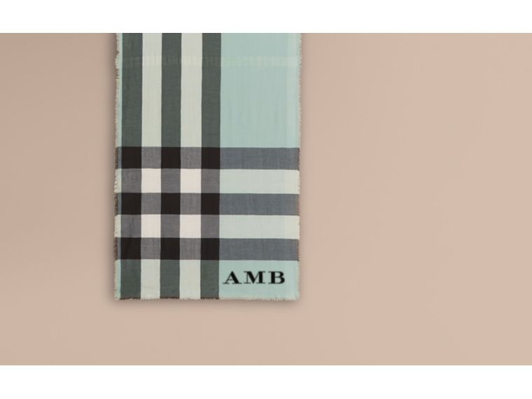 The Lightweight Cashmere Scarf in Check in Dusty Mint - cell image 1