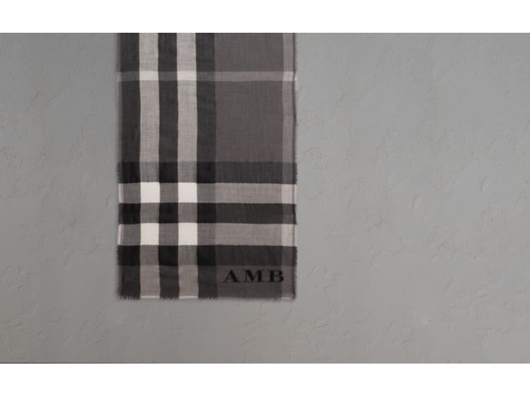 The Lightweight Cashmere Scarf in Check in Mid Grey - cell image 1