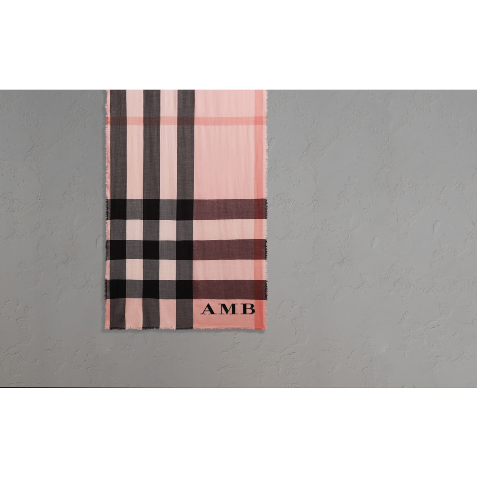 The Lightweight Cashmere Scarf in Check Rose - gallery image 2