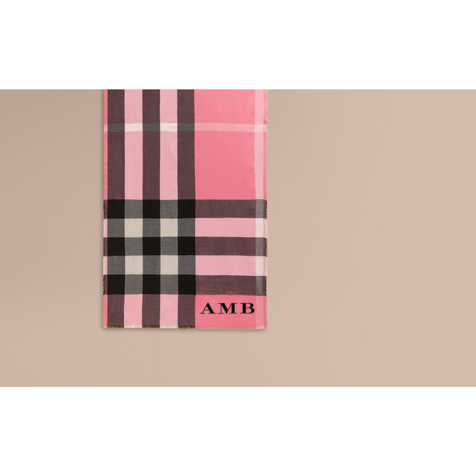 The Lightweight Cashmere Scarf in Check Rose Pink - gallery image 2