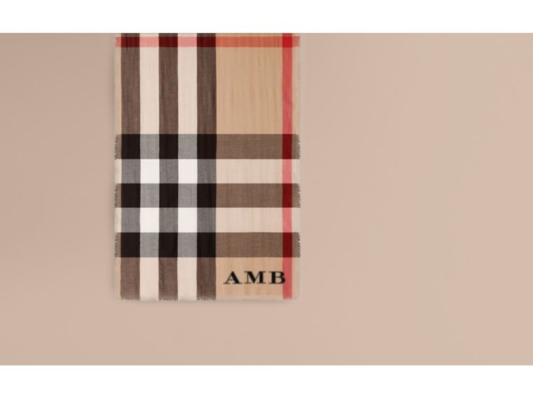 Lightweight Check Cashmere Scarf in Camel | Burberry United Kingdom - cell image 1