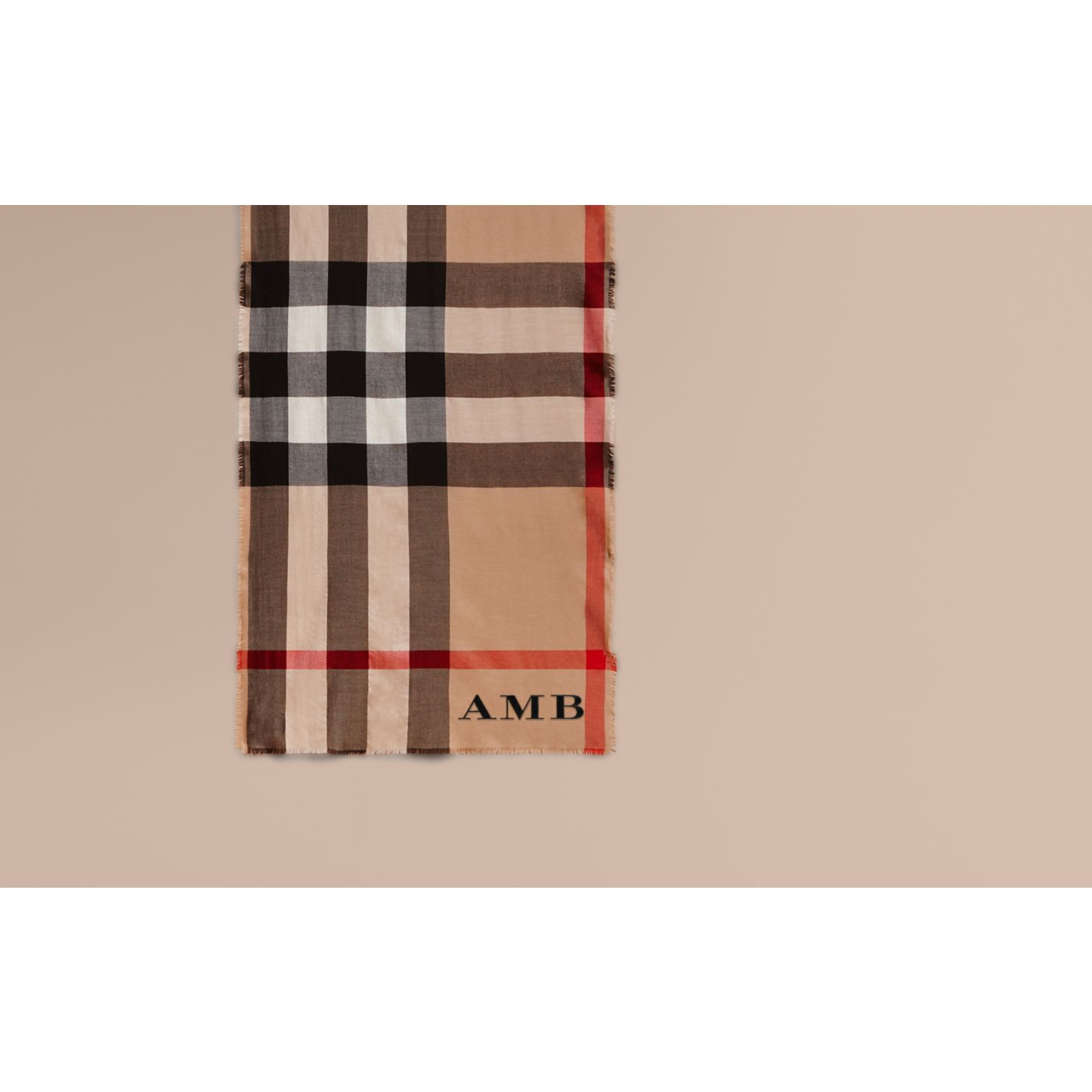Camel check Extra-long Lightweight Cashmere Check Scarf - gallery image 2