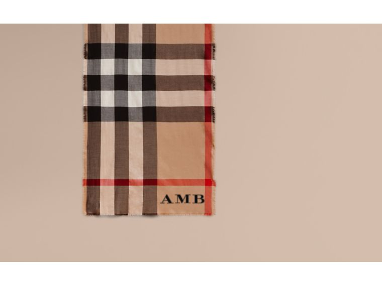 Extra-long Lightweight Cashmere Check Scarf in Camel | Burberry - cell image 1