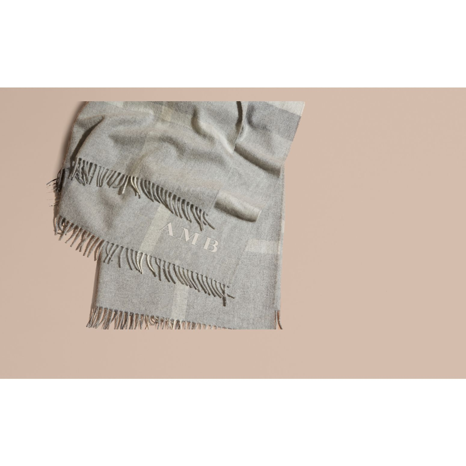 Check Cashmere Baby Blanket in Light Grey Melange | Burberry United Kingdom - gallery image 2