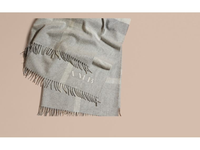 Check Cashmere Baby Blanket in Light Grey Melange | Burberry - cell image 1