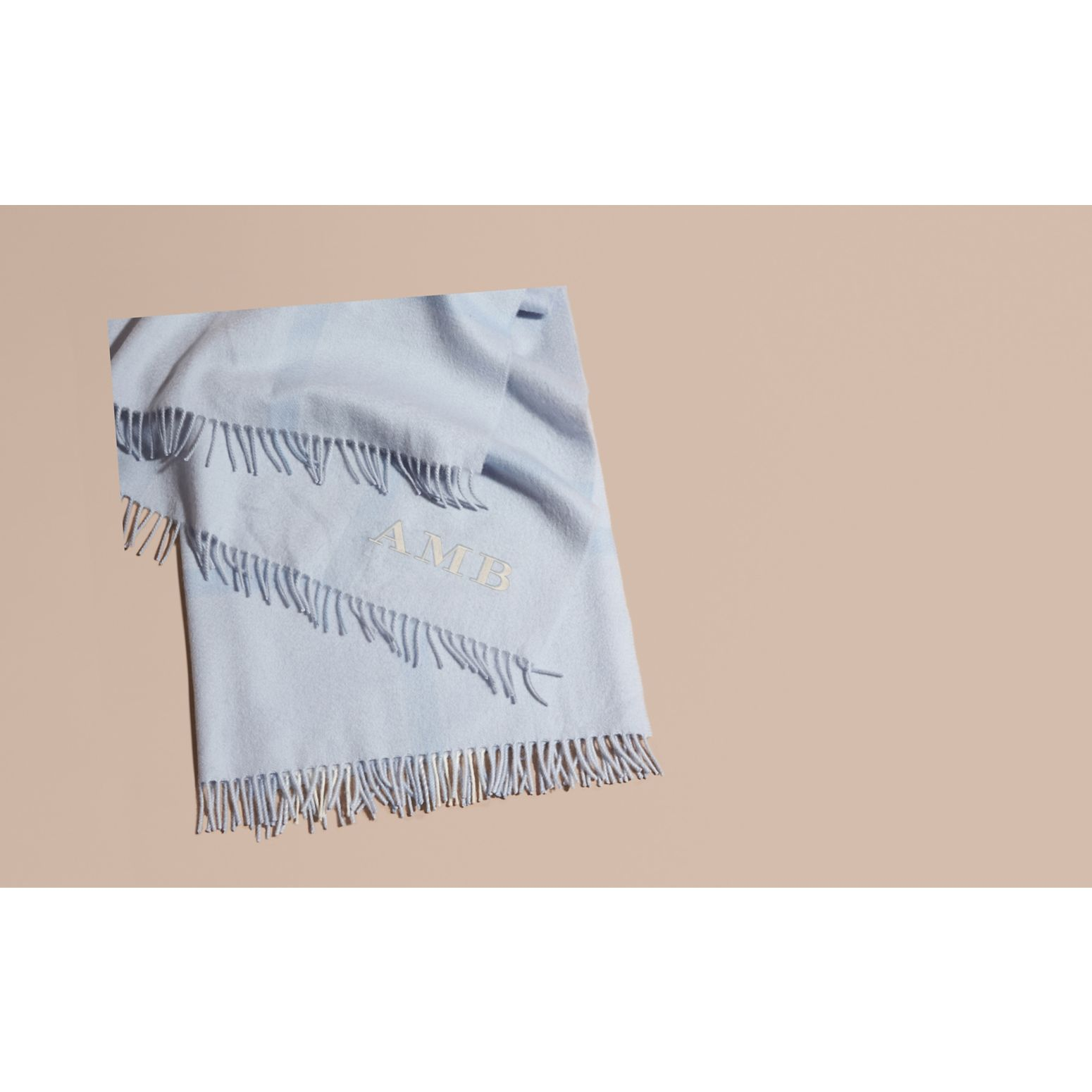 Check Cashmere Baby Blanket Ice Blue - gallery image 2