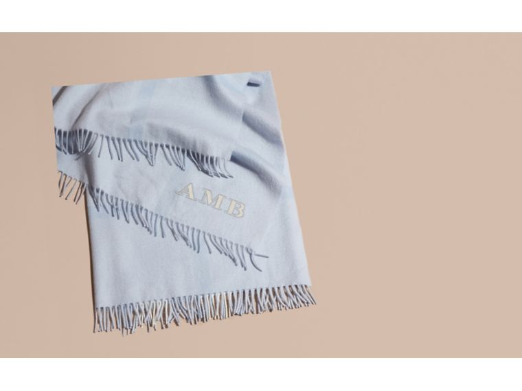 Check Cashmere Baby Blanket in Ice Blue | Burberry - cell image 1