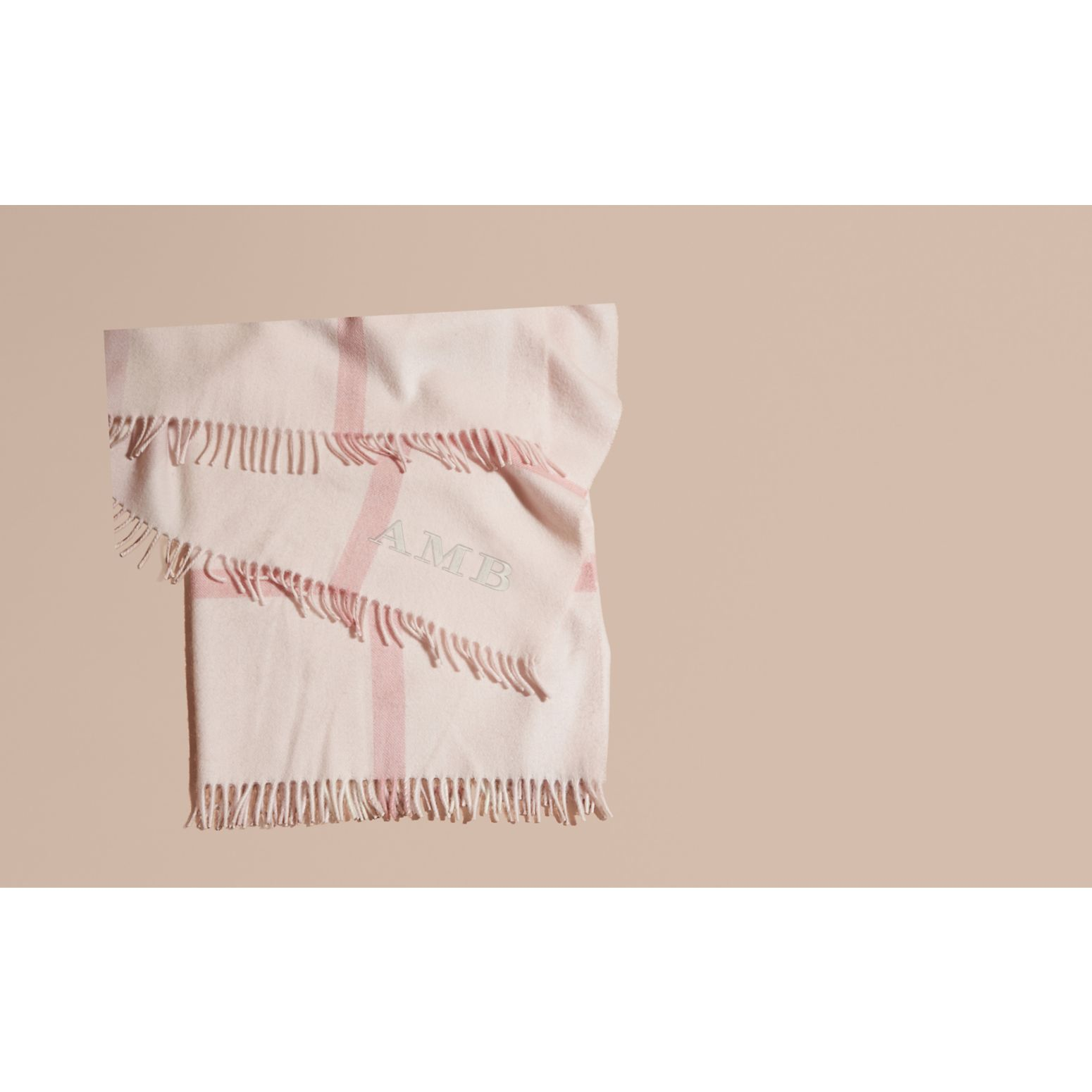 Check Cashmere Baby Blanket in Powder Pink - Children | Burberry - gallery image 2