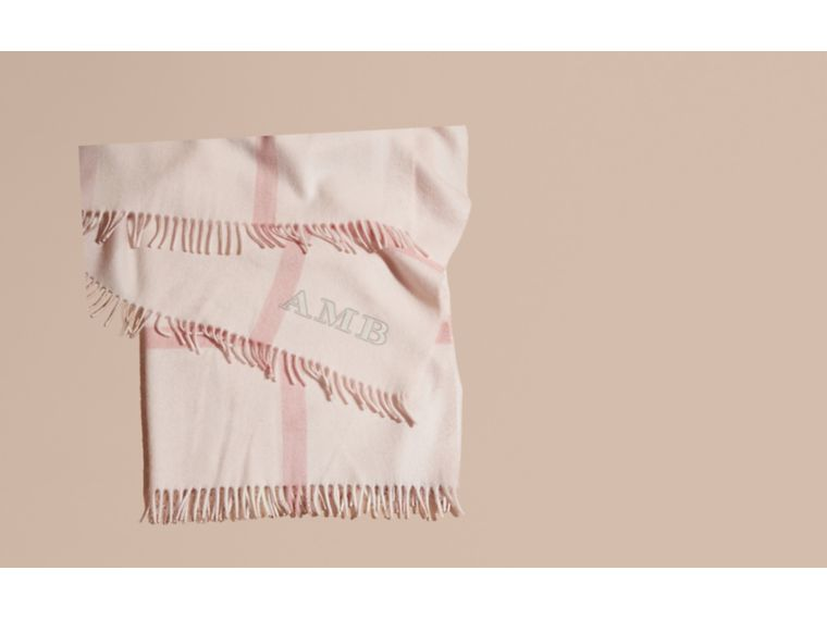 Check Cashmere Baby Blanket in Powder Pink - Children | Burberry - cell image 1