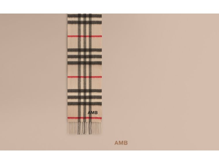 The Mini Classic Cashmere Scarf in Check Stone - cell image 1