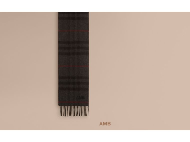 Charcoal check The Mini Classic Cashmere Scarf in Check Charcoal - cell image 1