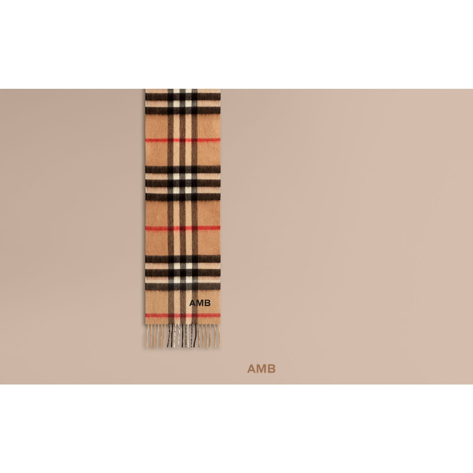 The Mini Classic Check Cashmere Scarf in Camel | Burberry Australia - gallery image 1